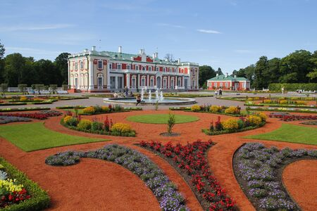 TALLINN, ESTONIA - JULY 29, 2016: The Kadriorg Palace is a Baroque building built for Catherine I of Russia by Peter the Great in Tallinn, Estonia.  The palace currently houses the Kadriorg Art Museum, a branch of the Art Museum of Estonia Editorial
