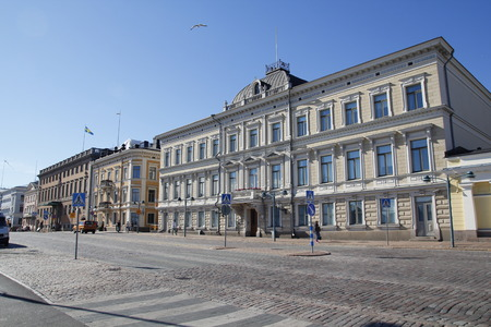 HELSINKI, FINLAND - JULY 30, 2016: Street view of Helsinki, capital of Finland, with classic buildings around the main central square Editorial