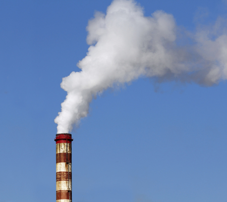 toxic substance: Chimney with smoke in the industry Stock Photo