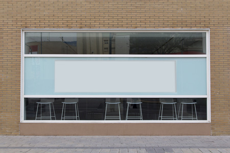 Office with blank showcase, with empty billboard Banque d'images