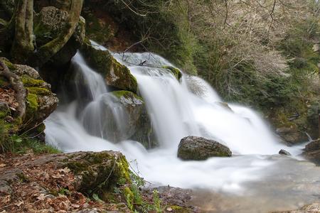 Chute d'eau dans une rivière, dans un long shot d'exposition