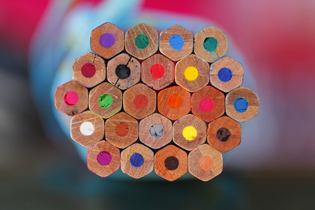 Colorful pencils in a macro composition