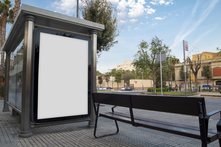 Blank advertisement in a bus shelter, for free promo Banque d'images