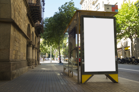 Blank advertisement in a bus stop, for free promo Banque d'images