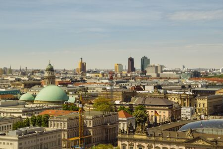 BERLIN, GERMANY - MAY 17, 2017: City view of Berlin from the roof of the Catheral Dome, with Potsdamer platz in the background