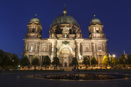 The Berlin cathedral at night, located on Museum Island in the Mitte borough Stock Photo