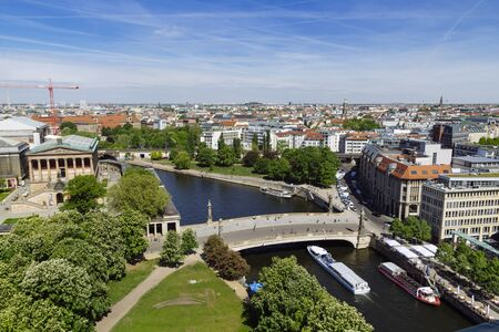 BERLIN, GERMANY - MAY 17, 2017: City view of Berlin from the roof of the Catheral Dome, river Spree and museuminsel Éditoriale