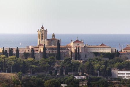 Cathedral of Tarragona against the blue Mediterranean sea, Catalonia, Spain