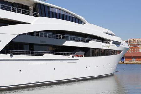 Luxury yacht moored on harbor