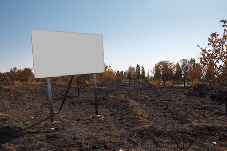 Blank billboard mock up in a burned plot