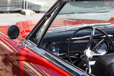Interior of a classic convertible retro car