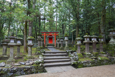 Red torii gate and stone lanterns in Kasuga Taisha Shrine in Nara, Japan
