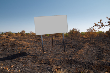 Blank billboard mock up in a burned plot