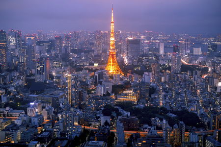 Tokyo skyline at sunset, with the famous tower of Tokyo