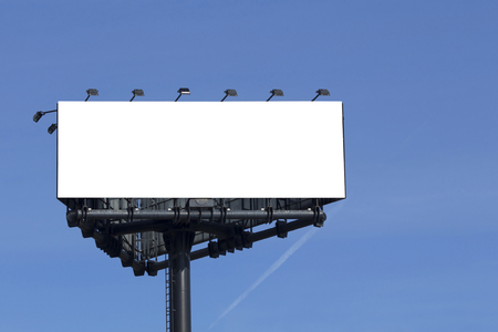 Blank billboard for advertisement, against blue sky Stok Fotoğraf