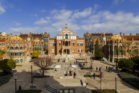 BARCELONA, SPAIN - FEBRUARY 18, 2018: Hospital de la Santa Creu i Sant Pau, designed by the Catalan modernist architect Lluís Domènech i Montaner, it is a UNESCO World Heritage Site. Editöryel