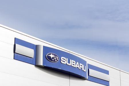 Tarragona, Spain - December 01, 2018: Subaru logo in a dealership car store