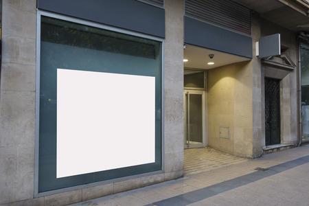 Blank billboard mock up in a bank office
