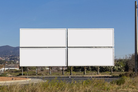 Four big blank billboards for advertising