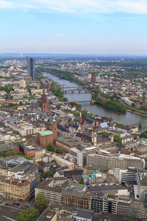 Frankfurt city view from the top, with river Main Banque d'images