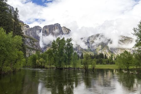 Granite mountains and water in Yosemite National Park, United States