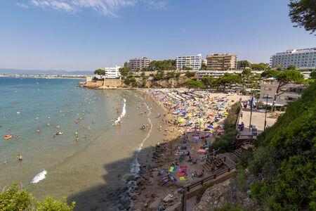 Capellans crowded beach in Salou, Spain