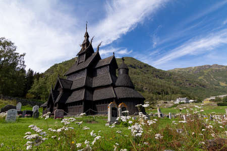 Old Borgund Stave Church in Laerdal, Norway, built around 1200