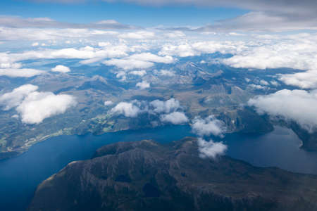 Aerial view of fjords in Norway, from an airplane