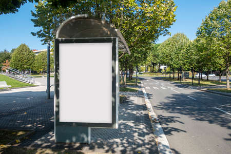 Blank advertisement mock up in a bus stop, in the street Archivio Fotografico