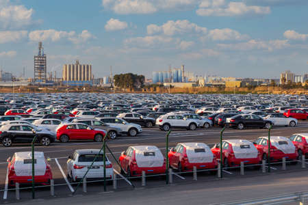 Import of new cars for sale in a parking