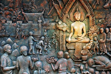thai rural life stone mural photo