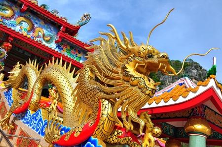 tempels: Dragon standbeeld in chinese tempel Stockfoto