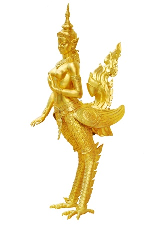 himmapan: Golden kinnaree statue, a half woman and swan creature in thai literature