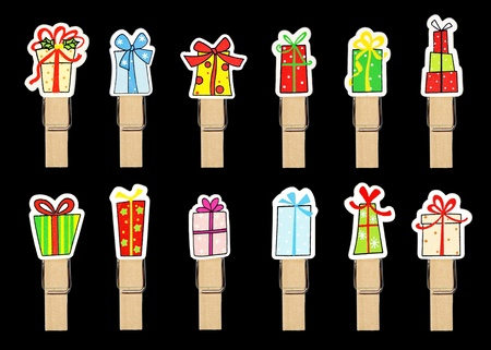 bedeck: gift box badge on wooden clothespin