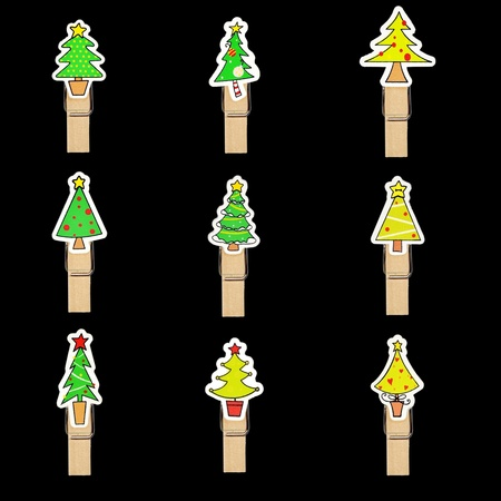 christmas tree badge on wooden clothespin