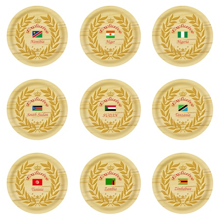 exclusive africa wooden badge collection 3 Stock Photo - 15824972
