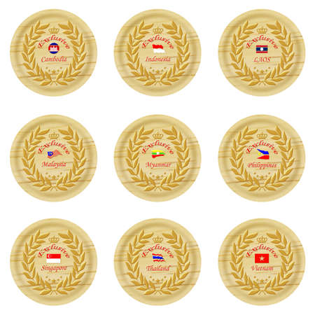 exclusive asia wooden badge collection 4  Stock Photo - 15824987
