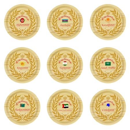 exclusive asia wooden badge collection 2 Stock Photo - 15824991