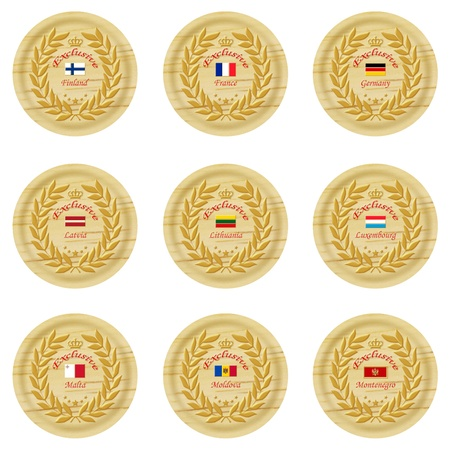 exclusive europe wooden badge collection 2 Stock Photo - 15824964