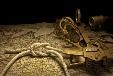 nautical sextant and knot still life