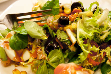 wide green salad Stock Photo
