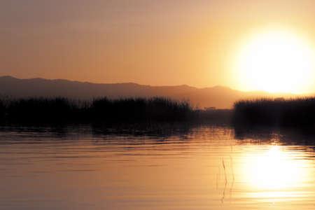 sunset on african lake