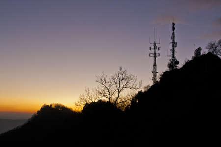 backlit mountain landscape Stock Photo