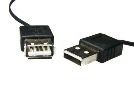 two USB ports on white background