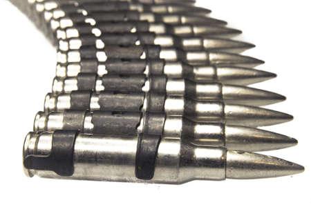 machine gun bullets on white background Stock Photo