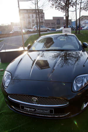 Detail of the front of Jaguar car. Editorial