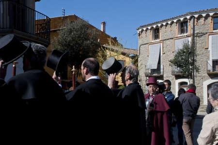 easter sunday: caramelles participants on Easter Sunday in Sant Julia de Vilatorrada, Spain