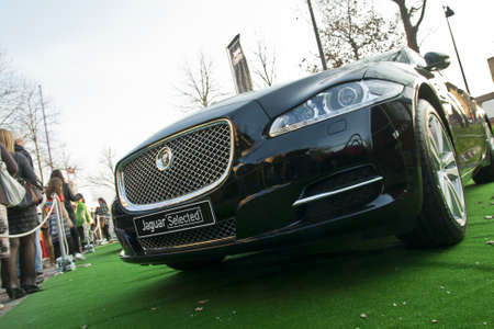Detail of the front of Jaguar car. Editorial