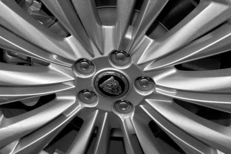 Detail of the wheel of a Jaguar car.