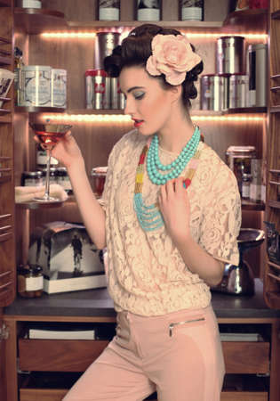 beautiful girl in the kitchen photo